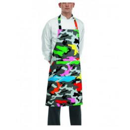 Kuchařská zástěra ke krku - barevný maskáč
