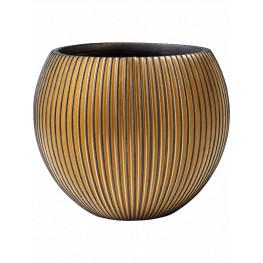 Kvetináč Capi Nature Groove Vase Ball čierny/zlatý 17x14 cm