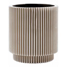 Kvetináč Capi Nature Vase Cylinder Groove II Ivory béžový 11x12 cm