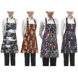 Kuchařská zástěra ke krku s kapsou DÁMSKA- různé vzory