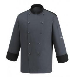 Kuchařský rondon - šedý s lemováním