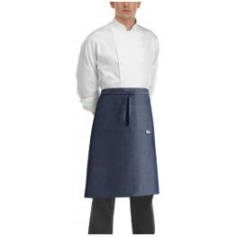 Kuchárska zástera nízka s vreckom - JEANS