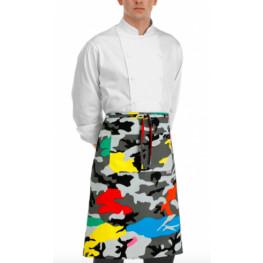 Kuchárska zástera nízka s vreckom - farebný maskáč