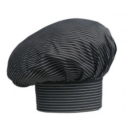 Vysoká kuchařská čepice - jemné bílé pásy