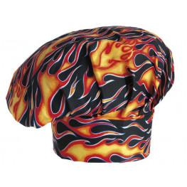 Vysoká kuchárska čiapka - vzor plamene