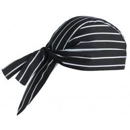 Kuchárska šatka na hlavu - široké biele pásy