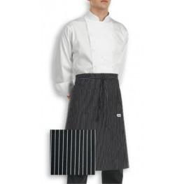 Kuchařská zástěra nízká s kapsou - jemné bílé pásy