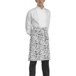 Kuchárska zástera nízka s vreckom - vzor gastro náradie
