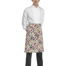 Kuchařská zástěra nízká s kapsou - vzor papriky bílé