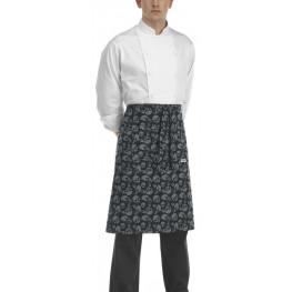 Kuchařská zástěra nízká s kapsou - vzor smrtky