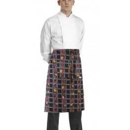 Kuchárska zástera nízka s vreckom - vzor papričky