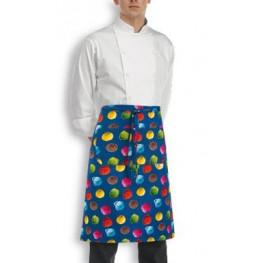 Kuchařská zástěra nízká s kapsou - vzor zmrzlina