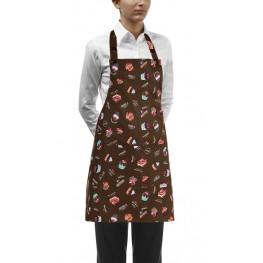 Kuchařská zástěra ke krku s kapsou DÁMSKA- zákusky