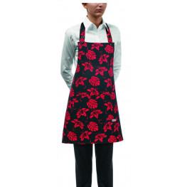 Kuchařská zástěra ke krku s kapsou DÁMSKA- ibišek