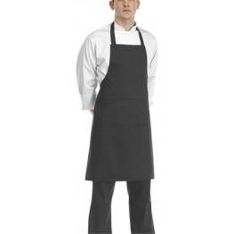 Čierna kuchárska zástera ku krku s vreckom