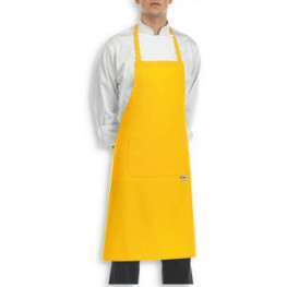 Žltá kuchárska zástera ku krku s vreckom