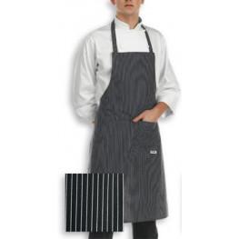 Kuchárska zástera ku krku - jemné biele pásy