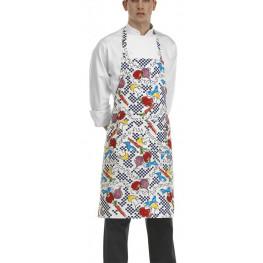 Kuchárska zástera ku krku s vreckom - vzor fantasy