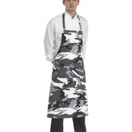 Kuchařská zástěra ke krku s kapsou - vzor maskáče