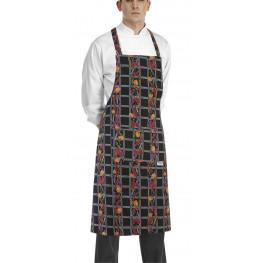 Kuchárska zástera ku krku s vreckom - vzor papričky