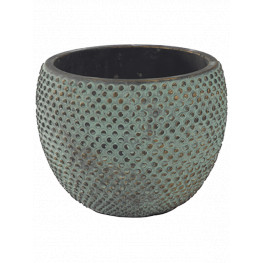 Indoor Pottery Pot Fay Blue Gold 18x14 cm