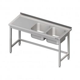 Umývací stôl s dvojdrezom - bez police 1600x700x850mm
