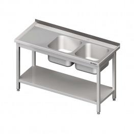 Umývací stôl s dvojdrezom - s policou 1700x700x850mm