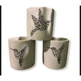 Ceramic pot Origami Kolibri black 9 cm