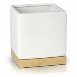 Kvetináč biely lesklý kocka bambus 18x18x17 cm