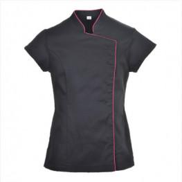 Kuchařský rondon dámský - tunika WRAP černý s růžovým lemem
