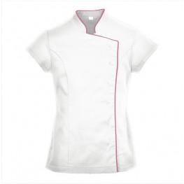 Kuchařský rondon dámský - tunika WRAP bíli s růžovým lemem