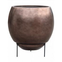 Kvetináč Metallic Silver leaf Globe Elevated matt coffee hnedý na nožičkách (s vnútrom) 48x45 cm