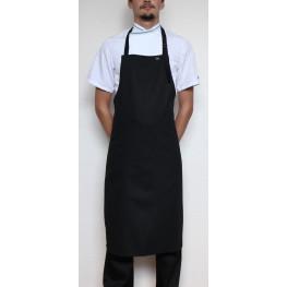 Kuchárska zástera ku krku s prackou 100% bavlna - čierna
