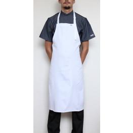 Kuchárska zástera ku krku s prackou 100% bavlna - biela