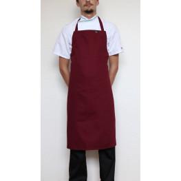 Kuchařská zástěra ke krku s přezkou 100% bavlna - bordó