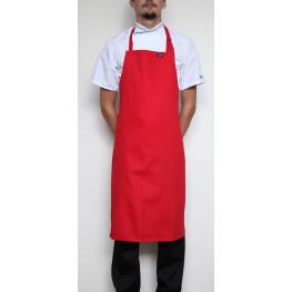Kuchárska zástera ku krku s prackou 100% bavlna - červená