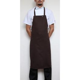 Kuchárska zástera ku krku s prackou 100% bavlna - hnedá