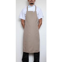 Kuchárska zástera ku krku s prackou 100% bavlna - kaki