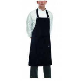 Kuchárska zástera ku krku s vreckom - ROCK- Čierna