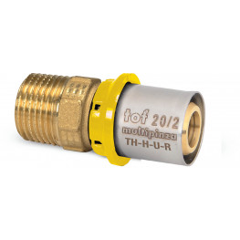 "TOF-MP GAS PRESS Ms prechodka PEX-AL-PEX s vonk. závitom M1/2""x20mm, hrúbka rúry 2mm, G13GR41300"