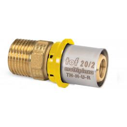 "TOF-MP GAS PRESS Ms prechodka PEX-AL-PEX s vonk. závitom M3/4""x20mm, hrúbka rúry 2mm, G13GR51300"