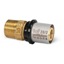 "TOF-MP PRESS Ms prechodka PEX-AL-PEX s vonk. závitom M 3/4""x20mm, hrúbka rúry 2mm, U13GR51300"