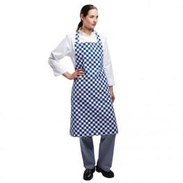 Kuchařská zástěra ke krku - modro-bílá šachovnice