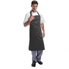 Kuchařská zástěra ke krku - černá s bílými pásy