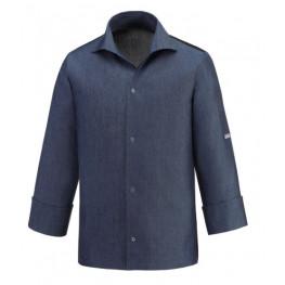 Kuchařský rondon VIP s košilovým střihem UNISEX - jeans