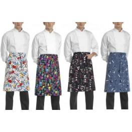 Kuchařská zástěra nízká s kapsou - různé vzory