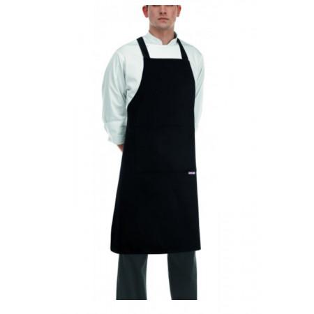 Kuchařská zástěra ke krku s kapsou - zavazování do kříže - Černá