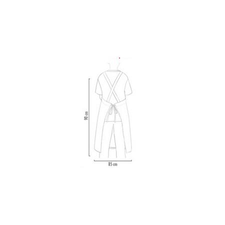 Kuchařská zástěra ke krku s kapsou - zavazování do kříže - Jeans