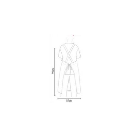 Kuchařská zástěra ke krku s kapsou - zavazování do kříže - Bíla