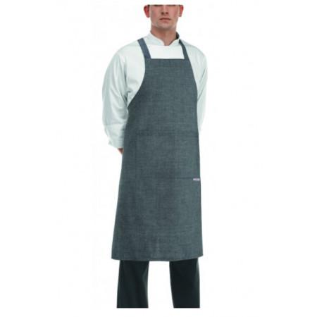 Kuchárska zástera ku krku s vreckom - zaväzovanie do kríža - Sivá
